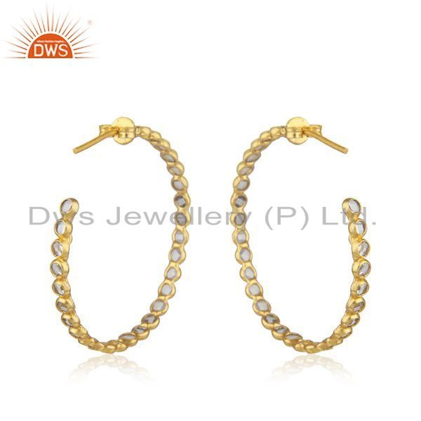 Suppliers Designer Gold Plated Silver CZ Gemstone Designer Hoop Earrings Jewelry
