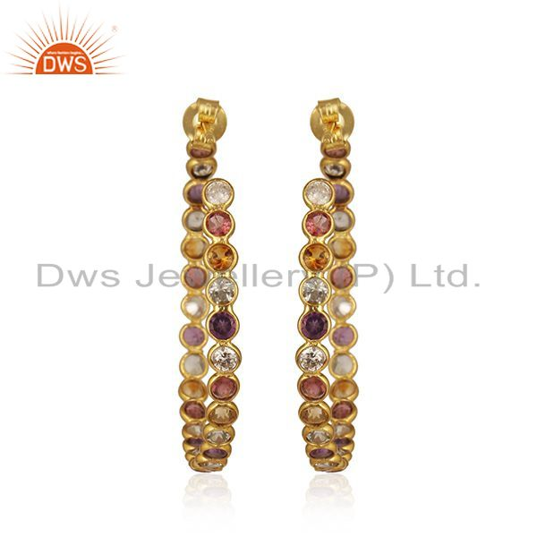 Suppliers Natural Multi Gemstone Gold Plated 925 Silver Hoop Earring Supplier