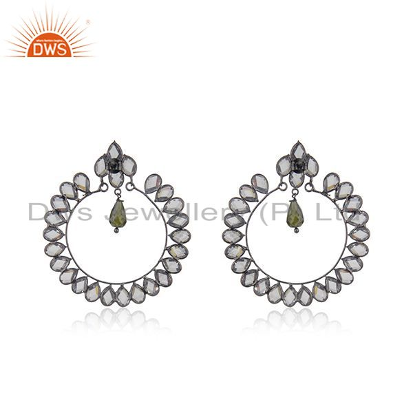 Suppliers New Rhodium Plated Designer SIlver CZ Earrings Jewelry Supplier