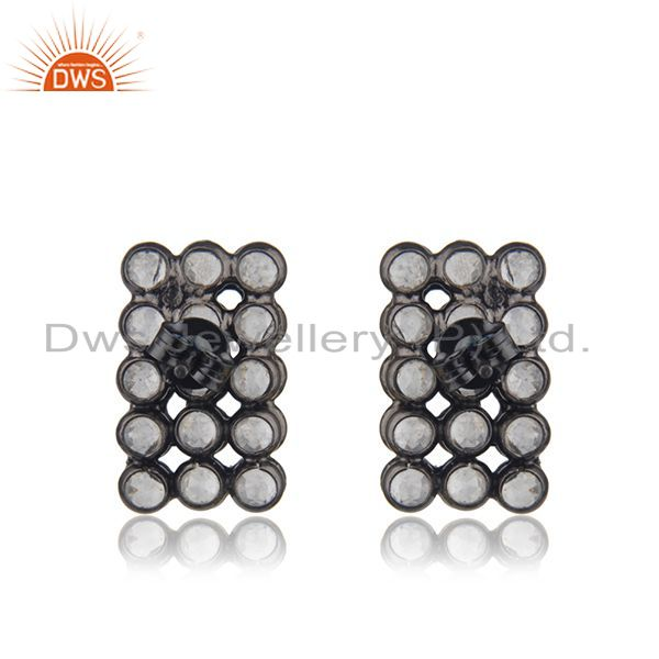 Suppliers White Zircon Sterling Silver Black Stud Earrings Jewelry Manufacturer India