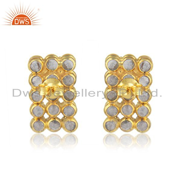 Suppliers White Zircon 925 Silver Gold Plated Stud Earrings Manufacturer India