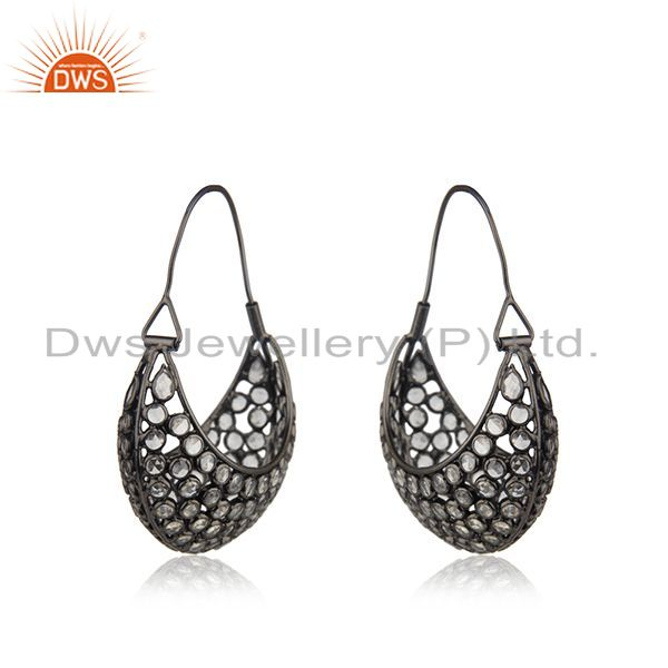 Suppliers Black Rhodium Plated Silver Designer CZ Dangle Earrings Jewelry