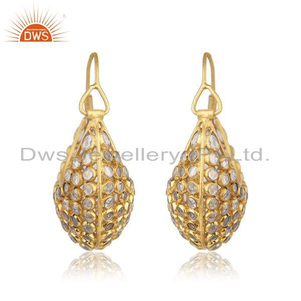 Suppliers Yellow Gold Plated Silver CZ Beaded Gemstone Bali Earrings Jewelry
