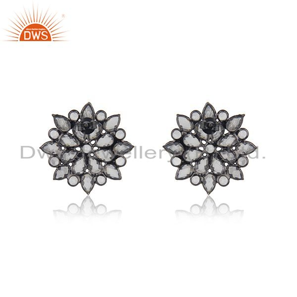 Suppliers BLack Rhodium Plated Silver Zircon Gemstone Floral Stud Earring Jewelry