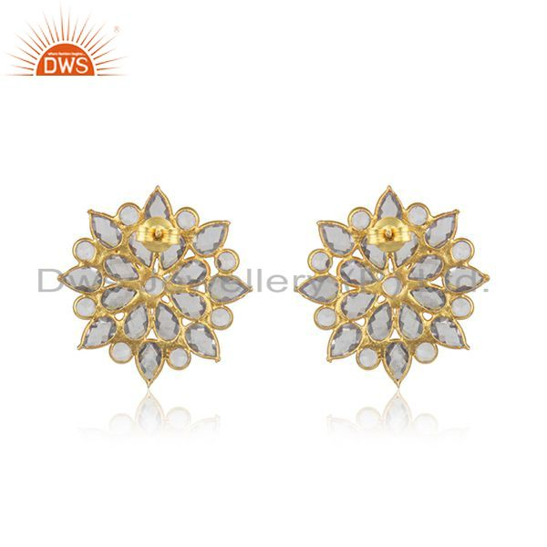 Suppliers Floral Gold Plated Silver CZ Beaded Gemstone Stud Earrings Jewelry