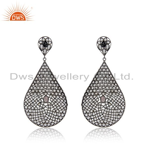 Suppliers White Zircon Rhodium Plated 925 Silver Earrings Jewelry Manufacturer