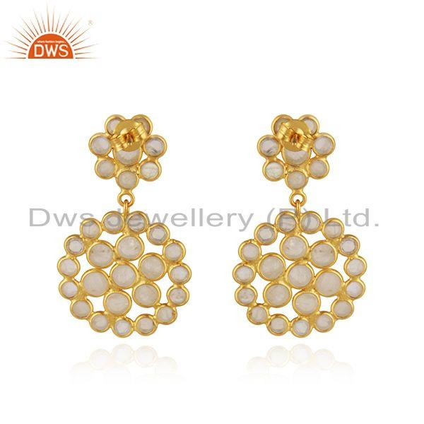 Suppliers Gold Plated Designer Silver Rainbow Moonstone Gemstone Earrings Jewelry Supplier