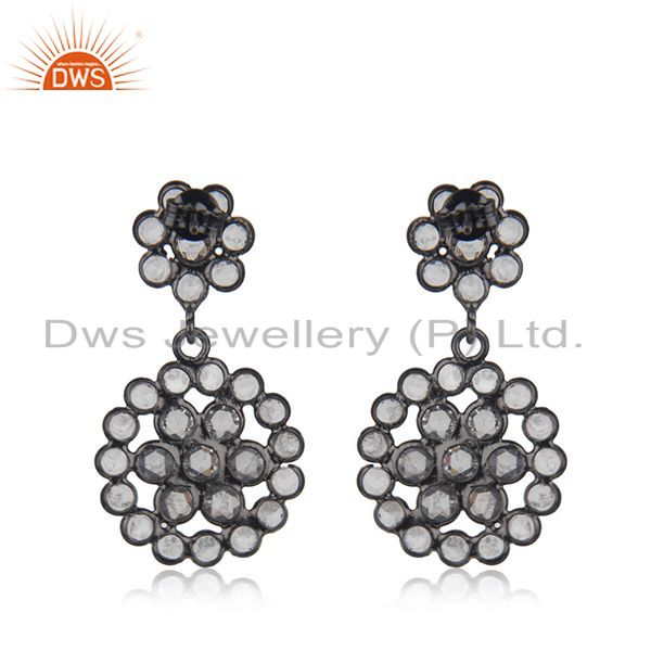 Suppliers New Designer Silver Rhodium Plated Silver CZ Earrings Jewelry