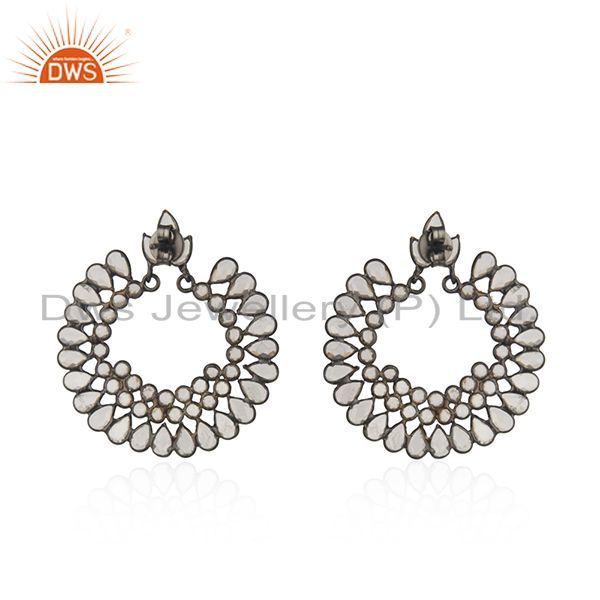 Suppliers Designer Rhodium Plated Silver CZ Gemstone Chand Bali Earrings Jewelry