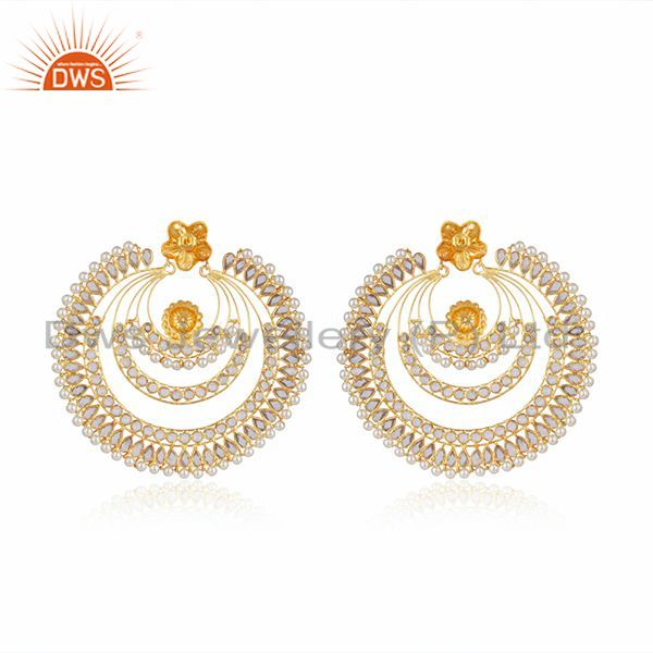 Suppliers Natural Pearl CZ Gemstone Gold Plated Silver Earring Supplier