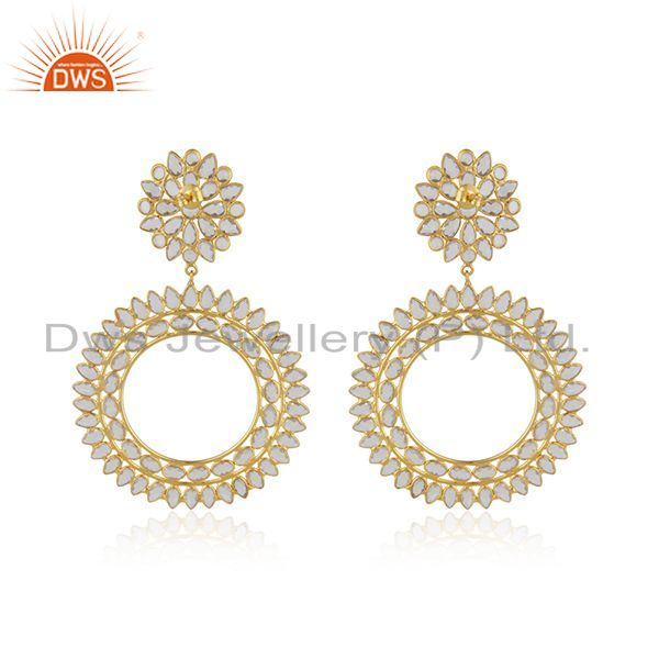Suppliers New Silver Gold Plated Designer CZ Indian Earrings Jewelry
