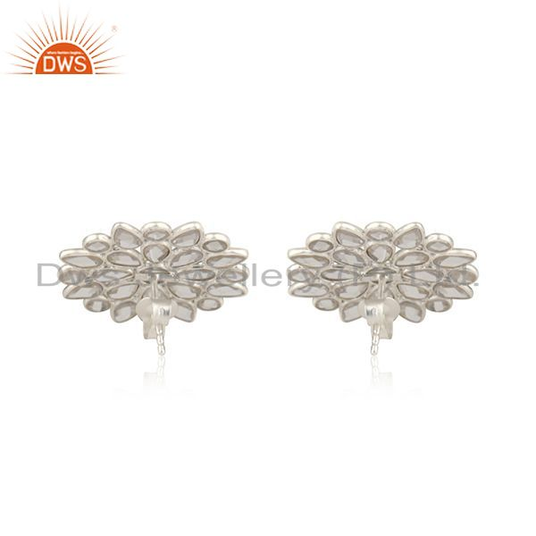 Suppliers Floral Design 925 Fine Sterling Silver Stud Earrings Manufacturer India