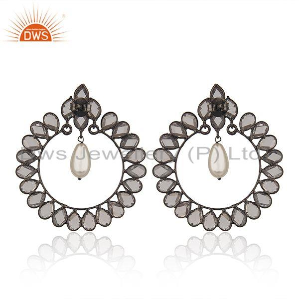 Suppliers Black Rhodium Plated 925 Silver Pearl Earrings Manufacturer of Girls Jewelry