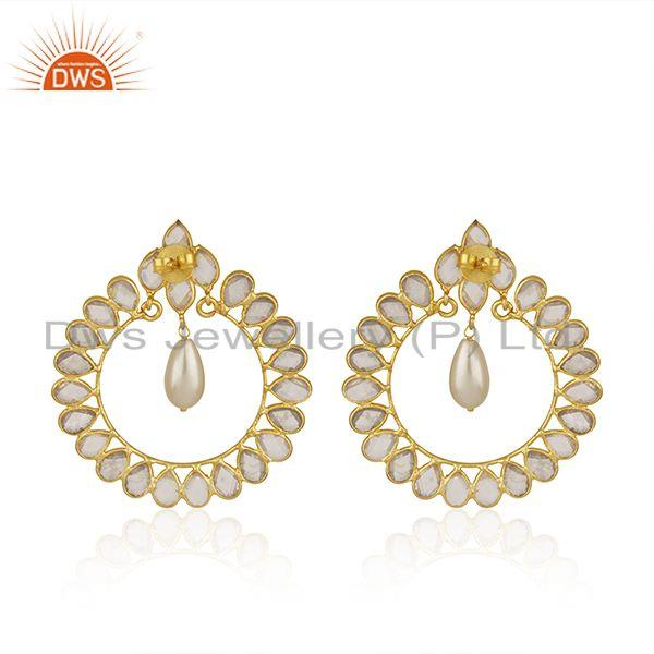 Suppliers White Zircon and Pearl Gemstone Gold Plated 925 Silver Earrings Manufacturer