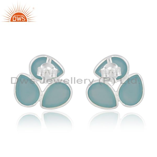 Suppliers Aqua Chalcedony Gemstone Fine Sterling Silver Stud Earring Manufacturer India