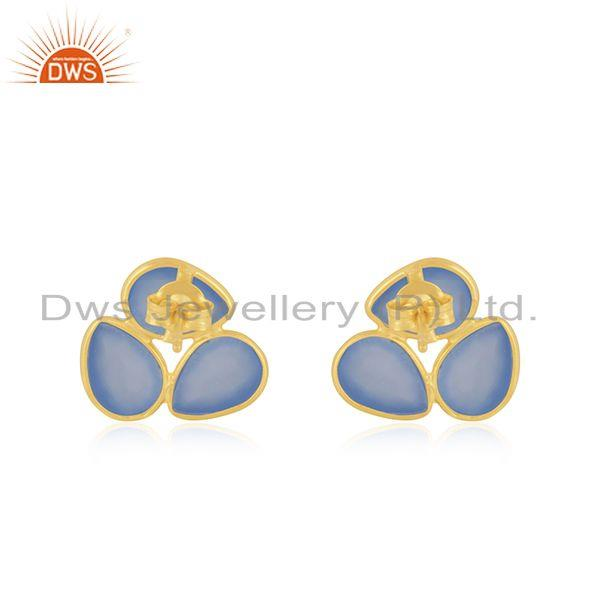 Suppliers Yellow Gold Plated Silver Blue Chalcedony Gemstone Stud Earrings Supplier
