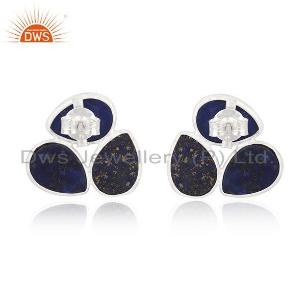 Suppliers Natural Lapis Lazuli Gemstone Fine Sterling Silver Stud Earring Wholesale India