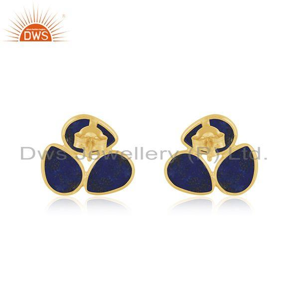 Suppliers Natural Lapis Gemstone Designer Yellow Gold Plated Silver Stud Earrings