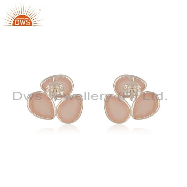 Suppliers Rose Chalcedony Gemstone 925 Sterling Silver Stud Earrings Manufacturer India