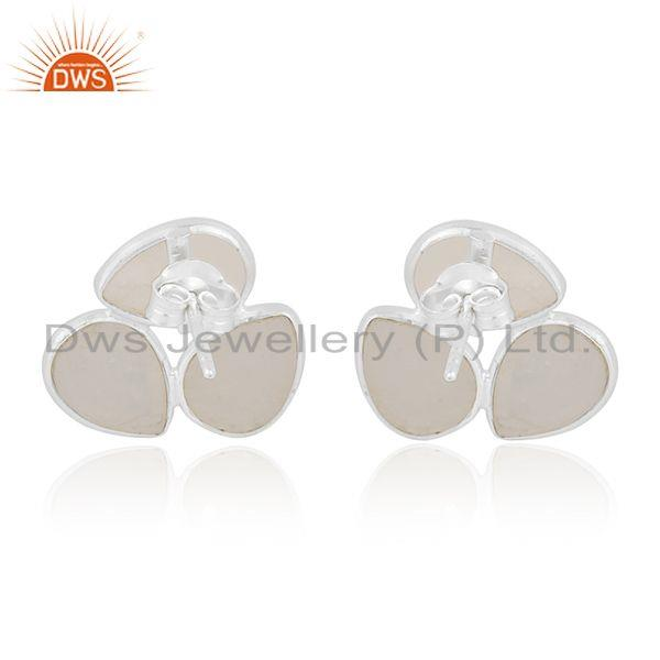 Suppliers Natural Rainbow Moonstone Fine Sterling Silver Stud Earring Manufacturer