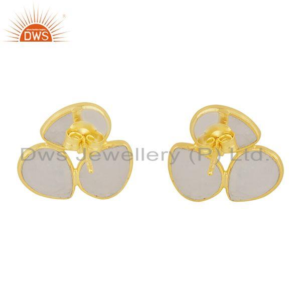 Suppliers Rainbow Moonstone Gold Plated 925 Silver Stud Earring Manufacturer India