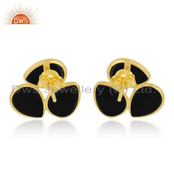 Suppliers Black Onyx Gemstone Sterling Silver Gold Plated Stud Earring Wholesale