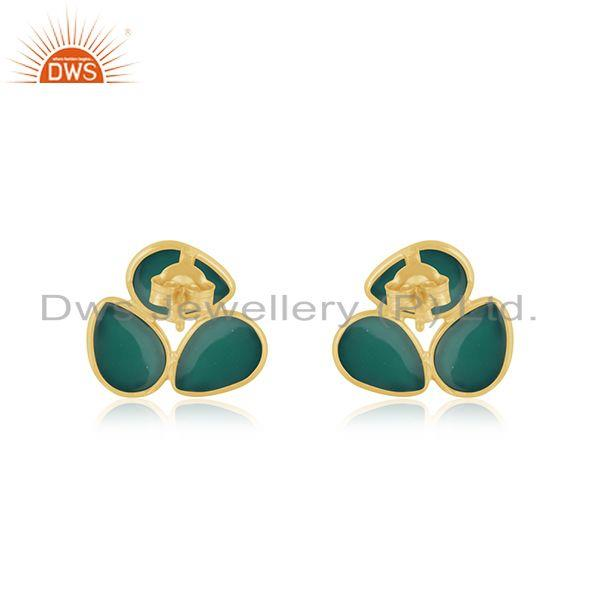 Suppliers Green Onyx Gemstone Yellow Gold Plated 925 Silver Stud Earrings For Girls