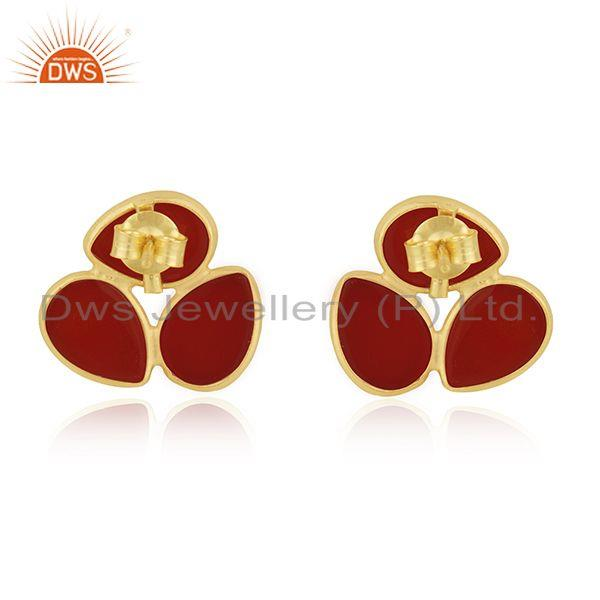 Suppliers Red Onyx Gemstone Gold Plated 925 Silver Stud Earring Manufacturer India Jaipur
