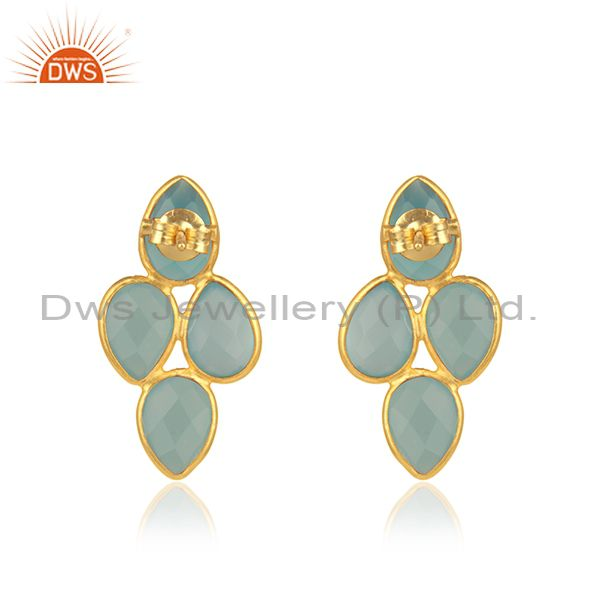 Suppliers Aqua Chalcedony Gemstone Designer Gold Plated Silver Earrings For Womens