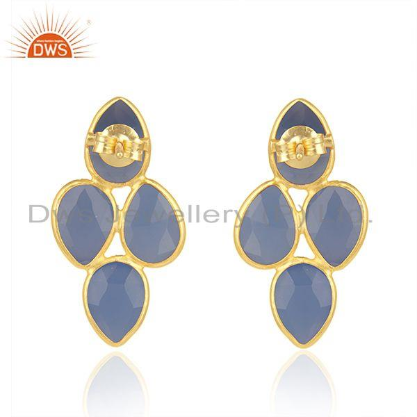 Suppliers 925 Silver Gold Plated Blue Chalcedony Gemstone Womens Earrings Jewelry