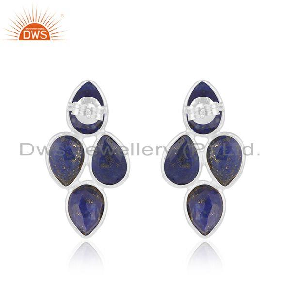 Suppliers 925 Sterling Fine Silver Lapis Gemstone Earrings Jewelry Manufacturer