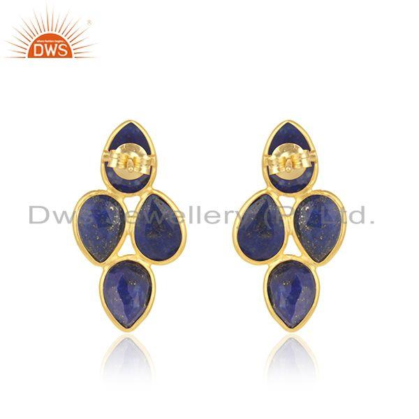 Suppliers Natural Lapis Gemstone 925 Silver Gold Plated Leaf Design Earrings Jewelry