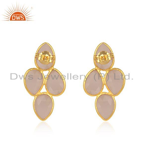 Suppliers Rose Chalcedony Gemstone 925 Silver Gold Plated Stud Earring Wholesale