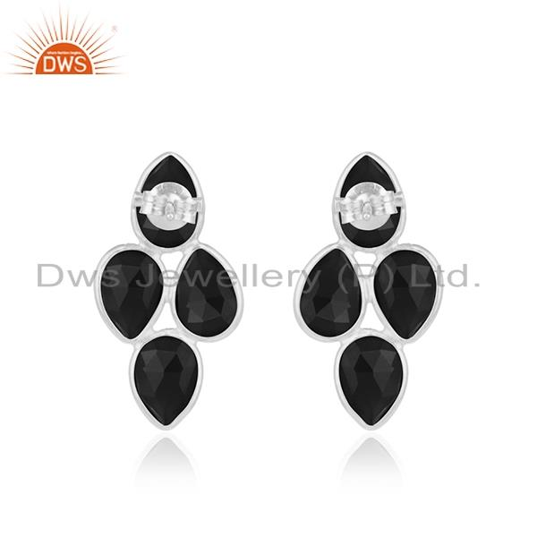 Suppliers Black Onyx Gemstone Fine Sterling Silver Womens Earring Manufacturer India