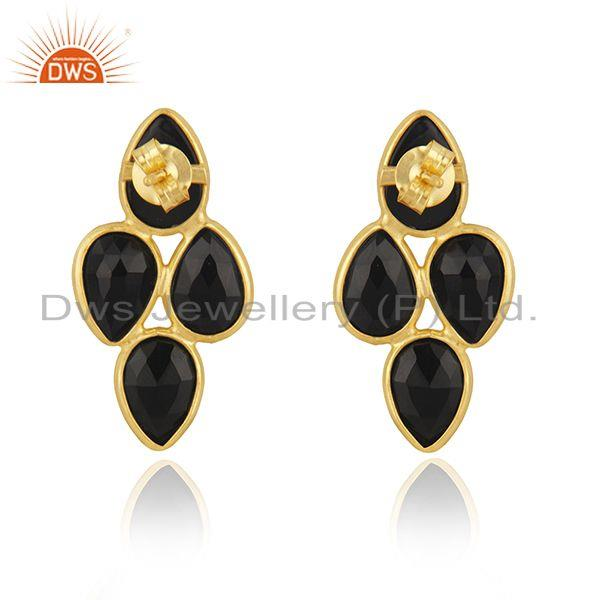 Suppliers Black Onyx Gemstone Yellow Gold Plated 925 Silver Stud Earring Manufacturer
