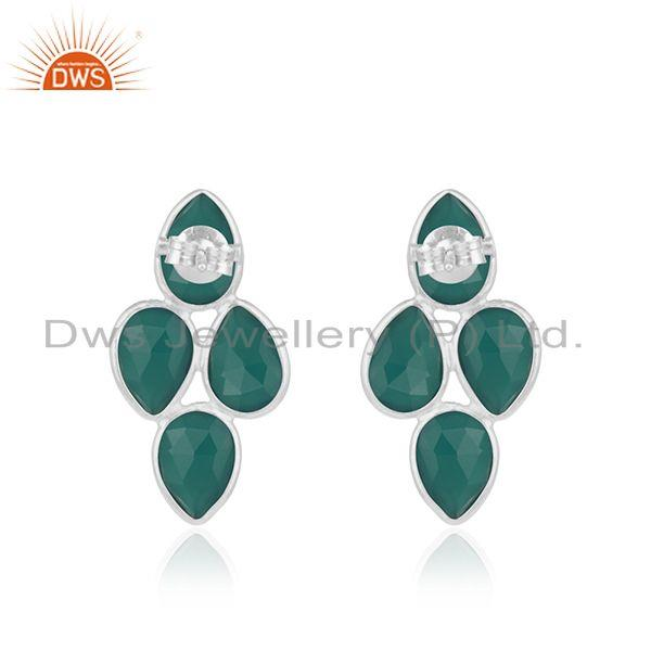 Suppliers Green Onyx Gemstone Fine Sterling Silver Simple Earring for Womens Jewelry
