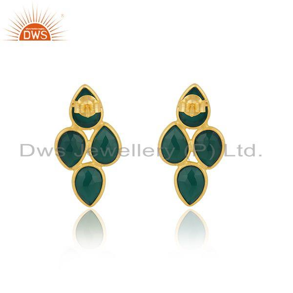 Suppliers Green Onyx Gemstone Gold Plated 925 Silver Earring Wholesaler