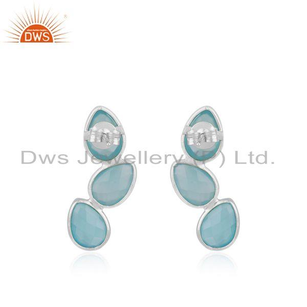 Suppliers Chalcedony Aqua Gemstone Sterling Fine Silver Stud Earring Suppliers India