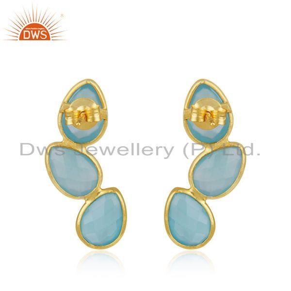 Suppliers Aqua Chalcedony Gemstone Designer Gold Plated Silver Earrings Jewelry