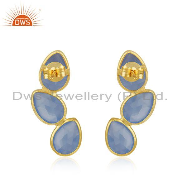 Suppliers Gold Plated 925 Silver Blue Chalcedony Gemstone Handmade Earring Manufacturer