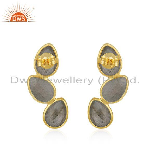 Suppliers Natural Labradorite Gemstone Silver Gold Plated Designer Earrings Jewelry