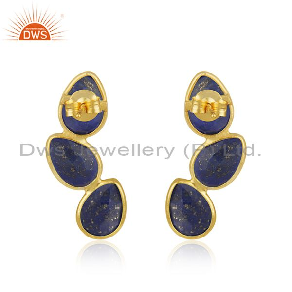 Suppliers Lapis Gemstone Designer 925 Silver Gold Plated Designer Earrings Jewelry