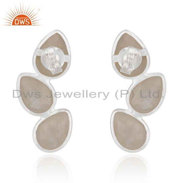 Suppliers 92.5 Sterling Fine Silver Rainbow Moonstone Earring Manufacturer in Jaipur