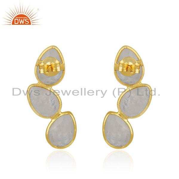 Suppliers Rainbow Moonstone Gold Plated Designer Silver Earrings Jewelry