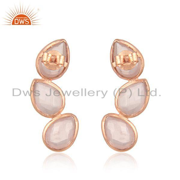 Suppliers Rose Gold Plated Leaf Design Silver Rose Quartz Earrings Jewelry
