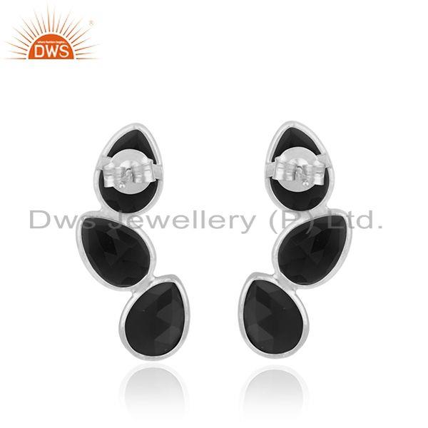 Suppliers Sterling Fine Silver Natural Black Onyx Gemstone Earrings Jewelry