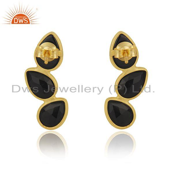 Suppliers Black Onyx Gemstone Sterling Silver Gold Plated Earring Manufacturer in Jaipur
