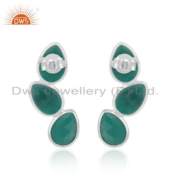 Suppliers New Sterling Fine Silver Green Onyx Gemstone Leaf Earrings Jewelry