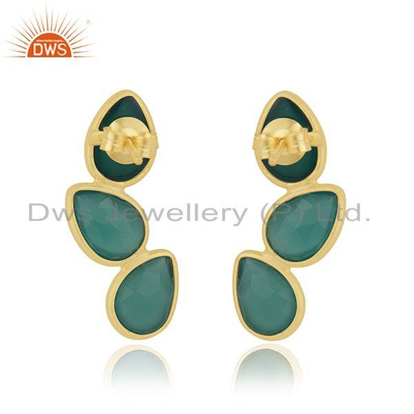 Suppliers Handmade Gold Plated 925 Silver Green Onyx Gemstone Earring Manufacturer Jaipur