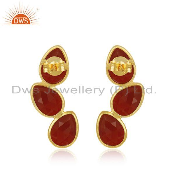 Suppliers Gold Plated Designer Silver Red Onyx Gemstone Leaf Earrings Jewelry